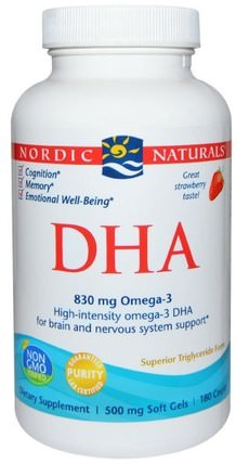 DHA, Strawberry, 500 mg, 180 Soft Gels by Nordic Naturals, 健康 HK 香港