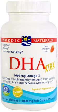 DHA Xtra, Strawberry, 1000 mg, 60 Soft Gels by Nordic Naturals, 健康 HK 香港
