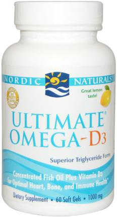 Ultimate Omega-D3, Lemon, 1000 mg, 60 Soft Gels by Nordic Naturals, 維生素,維生素D3 HK 香港