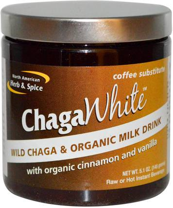 ChagaWhite, Coffee Substitute, 5.1 oz (145 g) by North American Herb & Spice Co., 補充劑,藥用蘑菇,chaga蘑菇,蘑菇粉 HK 香港