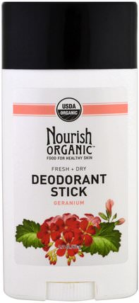 Fresh and Dry, Geranium, 2.2 oz (62 g) by Nourish Organic Organic Deodorant Stick, 洗澡,美容,除臭劑 HK 香港