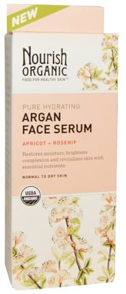 Apricot + Rosehip, 0.7 oz (20 ml) by Nourish Organic Pure Hydrating Argan Face Serum, 健康,皮膚血清,美容,面部護理,皮膚類型正常至乾性皮膚 HK 香港