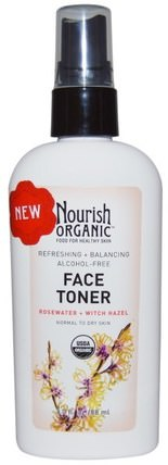 3.0 fl oz (88 ml) by Nourish Organic Refreshing & Balancing Face Toner Rosewater + Witch Hazel, 美容,面部護理,皮膚類型正常至乾性皮膚,面部調色劑 HK 香港