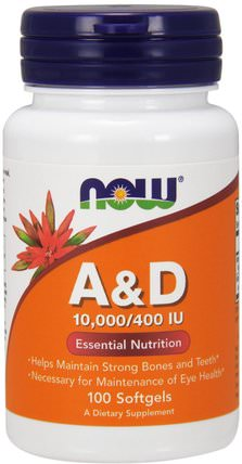 A&D, Essential Nutrition, 10.000/400 IU, 100 Softgels by Now Foods, 維生素,維生素a和d HK 香港