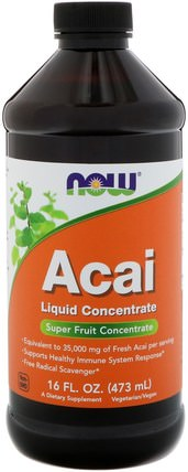 Acai Liquid Concentrate, 16 fl oz (473 ml) by Now Foods, 補充劑,抗氧化劑,咖啡茶和飲料,果汁 HK 香港