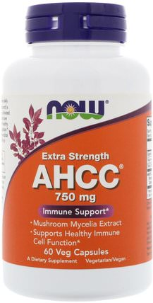 AHCC, Extra Strength, 750 mg, 60 Veg Capsules by Now Foods, 補充劑,藥用蘑菇,ahcc,蘑菇膠囊 HK 香港