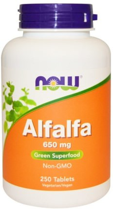 Alfalfa, 650 mg, 250 Tablets by Now Foods, 草藥,苜蓿 HK 香港