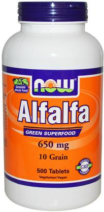 Alfalfa, 650 mg, 500 Tablets by Now Foods, 草藥,苜蓿 HK 香港