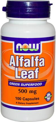 Alfalfa Leaf, 500 mg, 100 Veg Capsules by Now Foods, 草藥,苜蓿 HK 香港