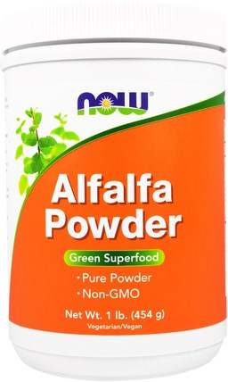 Alfalfa Powder, 1 lb (454 g) by Now Foods, 草藥,苜蓿 HK 香港