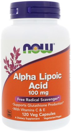 Alpha Lipoic Acid, 100 mg, 120 Veg Capsules by Now Foods, 補充劑,抗氧化劑,α硫辛酸,α硫辛酸100毫克 HK 香港