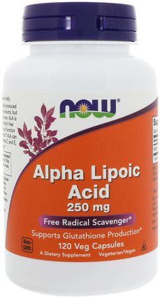 Alpha Lipoic Acid, 250 mg, 120 Veg Capsules by Now Foods, 補充劑,抗氧化劑,α硫辛酸 HK 香港