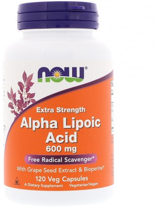 Alpha Lipoic Acid, Extra Strength, 600 mg, 120 Veg Capsules by Now Foods, 補充劑,抗氧化劑,α硫辛酸,α硫辛酸600毫克 HK 香港