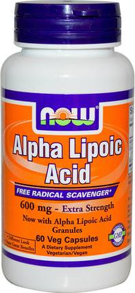 Alpha Lipoic Acid, Extra Strength, 600 mg, 60 Veg Capsules by Now Foods, 補充劑,抗氧化劑,α硫辛酸 HK 香港