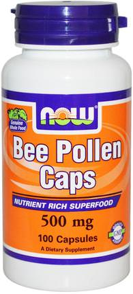 Bee Pollen Caps, 500 mg, 100 Capsules by Now Foods, 補充劑,蜂產品,蜂花粉 HK 香港