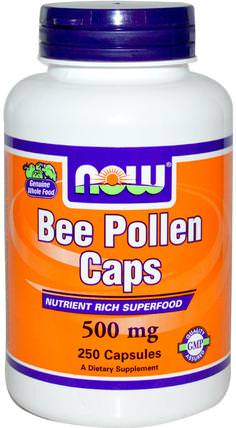 Bee Pollen Caps, 500 mg, 250 Capsules by Now Foods, 補充劑,蜂產品,蜂花粉 HK 香港
