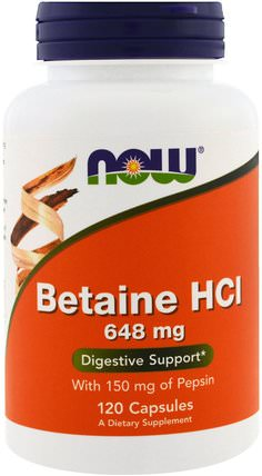 Betaine HCL, 648 mg, 120 Veggie Caps by Now Foods, 補充劑,甜菜鹼hcl,酶 HK 香港