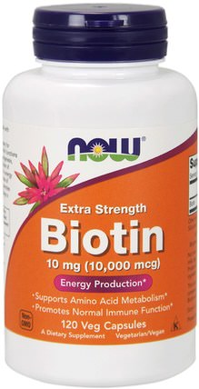 Biotin, Extra Strength, 10 mg (10.000 mcg), 120 Veg Capsules by Now Foods, 維生素,維生素B,生物素 HK 香港