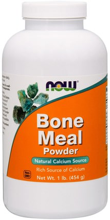 Bone Meal, Powder, 1 lb (454 g) by Now Foods, 補品,礦物質,骨粉粉,鈣 HK 香港