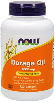 Borage Oil, Highest GLA Concentration, 1000 mg, 120 Softgels by Now Foods, 補充劑,efa omega 3 6 9(epa dha),琉璃苣油 HK 香港