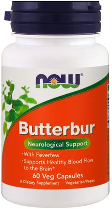Butterbur, 60 Veg Capsules by Now Foods, 健康,過敏,蜂斗菜,頭痛 HK 香港