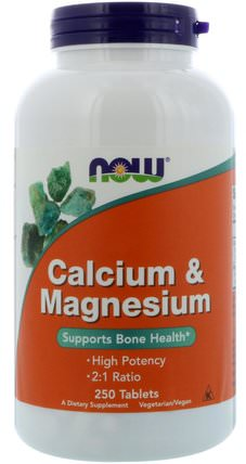Calcium & Magnesium, 250 Tablets by Now Foods, 補充劑,礦物質,鈣和鎂 HK 香港