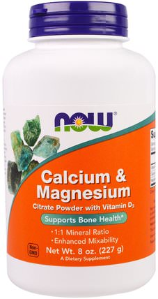 Calcium & Magnesium, 8 oz (227 g) by Now Foods, 維生素,維生素D3,補充劑,礦物質,鈣和鎂 HK 香港
