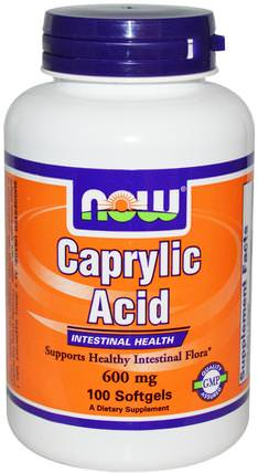 Caprylic Acid, 600 mg, 100 Softgels by Now Foods, 補充劑,辛酸,消化,胃 HK 香港