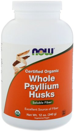 Certifed Organic Whole Psyllium Husks, 12 oz (340 g) by Now Foods, 補充劑,纖維,洋車前子殼,洋車前子殼粉末 HK 香港