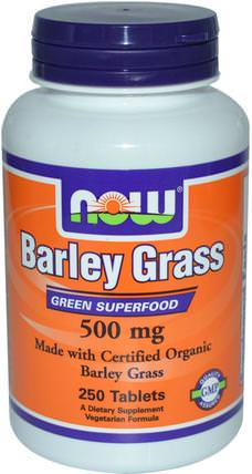 Certified Organic Barley Grass, 500 mg, 250 Tablets by Now Foods, 補品,超級食品,大麥草 HK 香港