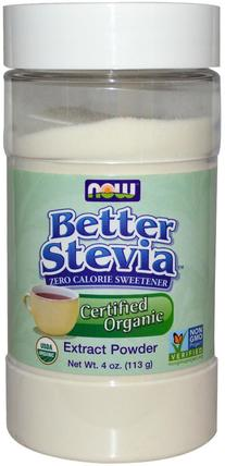 Certified Organic Better Stevia, Extract Powder, 4 oz (113 g) by Now Foods, 食物,甜味劑,甜葉菊 HK 香港