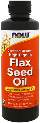 Certified Organic High Lignan Flax Seed Oil, 12 fl oz (355 ml) by Now Foods, 補充劑,efa omega 3 6 9(epa dha),亞麻油,亞麻油液體 HK 香港