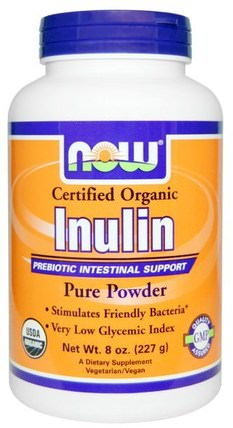 Certified Organic Inulin, Pure Powder, 8 oz (227 g) by Now Foods, 補充劑,纖維,菊粉 HK 香港