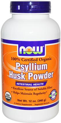 Certified Organic Psyllium Husk Powder, 12 oz (340 g) by Now Foods, 補充劑,纖維,洋車前子殼,洋車前子殼粉末 HK 香港