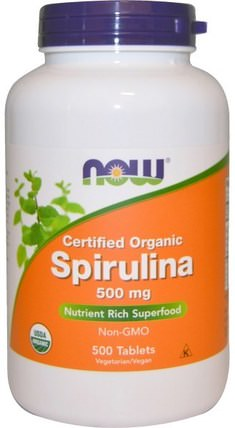 Certified Organic Spirulina, 500 mg, 500 Tablets by Now Foods, 補品,螺旋藻,藻類各種 HK 香港