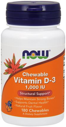 Chewable Vitamin D-3, Natural Fruit Flavor, 1.000 IU, 180 Chewables by Now Foods, 維生素,維生素D3,維生素a和d HK 香港