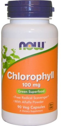 Chlorophyll, 100 mg, 90 Veggie Caps by Now Foods, 補充劑,內部除臭劑,苜蓿 HK 香港