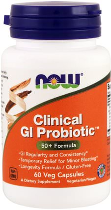 Clinical GI Probiotic, 60 Veggie Caps by Now Foods, 補充劑,益生菌,消化,胃 HK 香港