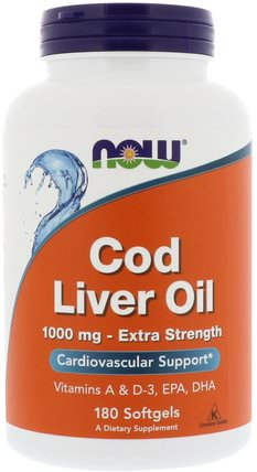 Cod Liver Oil, 1.000 mg, 180 Softgels by Now Foods, 補充劑,efa omega 3 6 9(epa dha),魚肝油,魚肝油軟膠囊 HK 香港