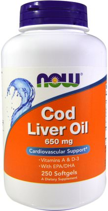 Cod Liver Oil, 650 mg, 250 Softgels by Now Foods, 補充劑,efa omega 3 6 9(epa dha),魚肝油,魚肝油軟膠囊 HK 香港