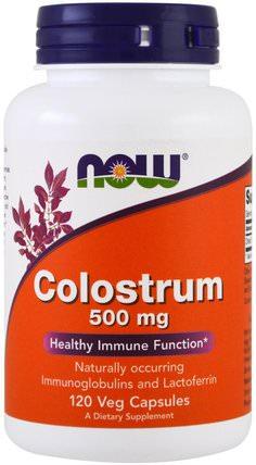 Colostrum, 500 mg, 120 Veggie Caps by Now Foods, 補充劑,乳鐵蛋白,牛製品,初乳 HK 香港