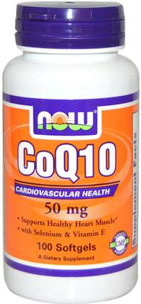 CoQ10, With Selenium and Vitamin E, 50 mg, 100 Softgels by Now Foods, 補充劑,輔酶q10,coq10 050毫克 HK 香港