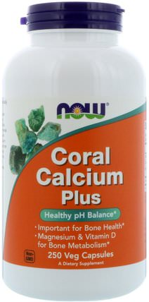 Coral Calcium Plus, 250 Veg Capsules by Now Foods, 補品,礦物質,鈣,珊瑚鈣 HK 香港