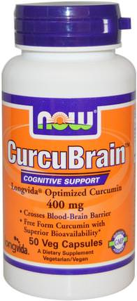 CurcuBrain, Cognitive Support, 400 mg, 50 Veg Capsules by Now Foods, 健康,注意力缺陷障礙,添加,adhd,腦 HK 香港