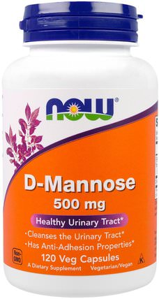 D-Mannose, 500 mg, 120 Veggie Caps by Now Foods, 補充劑,d-甘露糖 HK 香港