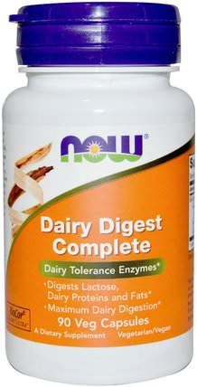 Dairy Digest Complete, 90 Veg Capsules by Now Foods, 補充劑,酶,乳糖酶 HK 香港