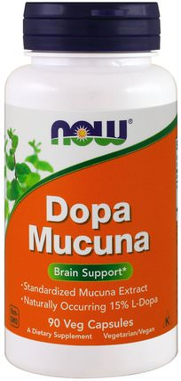 Dopa Mucuna, 90 Veg Capsules by Now Foods, 草藥,阿育吠陀阿育吠陀草藥,mucuna,健康,心情 HK 香港