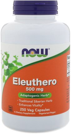 Eleuthero, 500 mg, 250 Veg Capsules by Now Foods, 補充劑,adaptogen,感冒和病毒,人參,eleuthero HK 香港