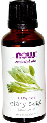 Essential Oils, Clary Sage, 1 fl oz (30 ml) by Now Foods, 沐浴,美容,香薰精油,鼠尾草精油 HK 香港