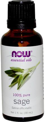 Essential Oils, Sage, 1 fl oz (30 ml) by Now Foods, 沐浴,美容,香薰精油,鼠尾草精油 HK 香港